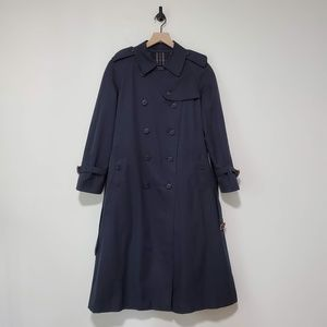 Burberry Double-Breasted Navy Trench Coat / 12P